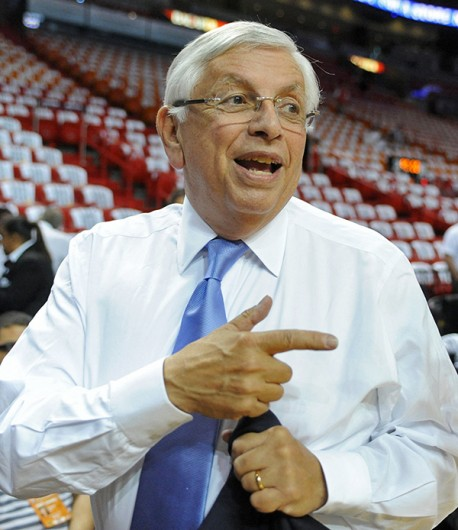 Then-NBA Commissioner David Stern talks with a fan before Game 7 of the NBA Finals between the Miami Heat and San Antonio Spurs June 20 at the AmericanAirlines Arena. Miami won, 95-88. Courtesy of MCT