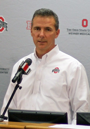 OSU coach Urban Meyer talks to the media on National Signing Day Feb. 5 at the Woody Hayes Athletic Center. Credit: Shelby Lum / Photo editor