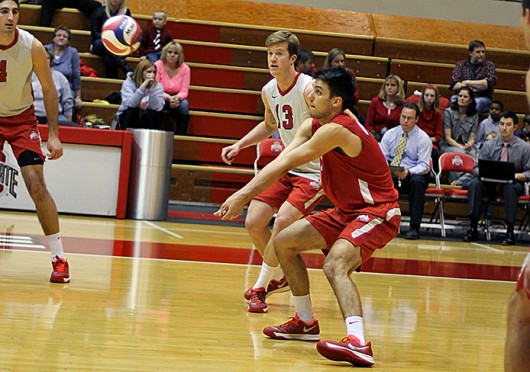 Freshman libero Gabriel Domecus (7) attempts to hit the ball during a match against Saint Francis Feb. 9 at St. John Arena. OSU won, 3-1. Credit: Shelby Lum / Photo editor