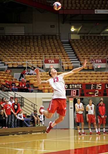 Freshman outside hitter Miles Johnson prepares to serve the ball during a match against Lees-McRae Jan. 17 at St. John Arena. OSU won, 3-0. Credit: Shelby Lum / Photo editor