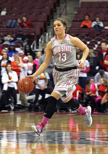 Sophomore guard Cait Craft takes the ball up the court during a game against Penn State Feb. 9 at the Schottenstein Center. OSU lost, 74-54. Credit: Ritika Shah / Asst. photo editor
