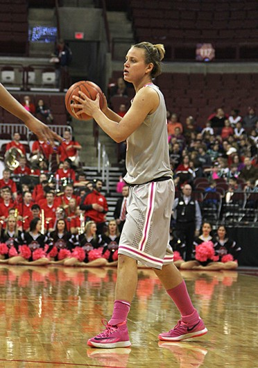Redshirt-junior guard Amy Scullion (25) looks for an open teammate during a game against Penn State Feb. 9 at the Schottenstein Center. OSU lost, 74-54. Credit: Ritika Shah / Asst. photo editor
