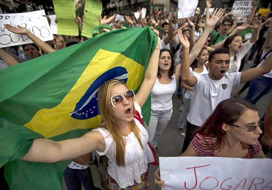 Demonstrators participate in a protest against the rising public transport prices, and the Brazilian government's lavish spending for the FIFA Confederations Cup and World Cup soccer events June 19 in Belo Horizonte, Minas Gerais, Brazil. Courtesy of MCT