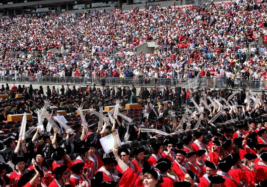 OSU students at the Spring Commencement ceremony May 5, 2013.  Credit: Shelby Lum / Photo editor