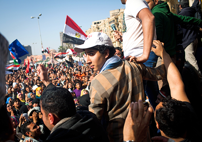 Tens of thousands of Egyptians protested Jan. 25, 2013 in Tahrir Square in Cairo.