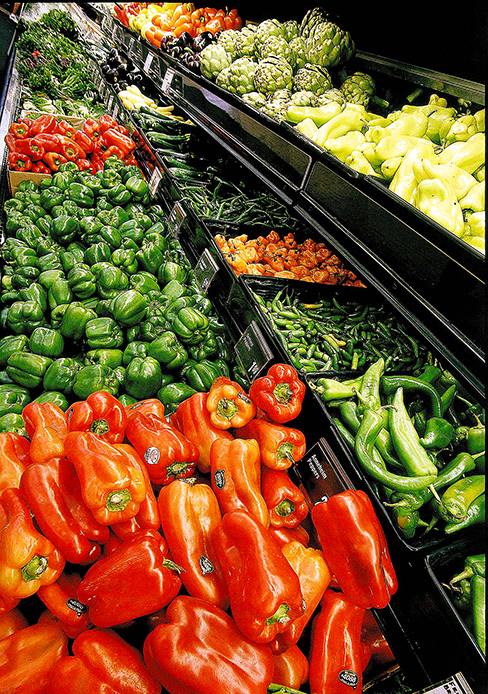 Healthy foods such as produce are found in the perimeters of grocery stores.