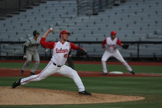 Freshman pitcher Adam Niemeyer throws a pitch against Siena during a game March 14 at Bill Davis Stadium. OSU won, 8-5. Credit: Sam Harrington / Lantern photographer