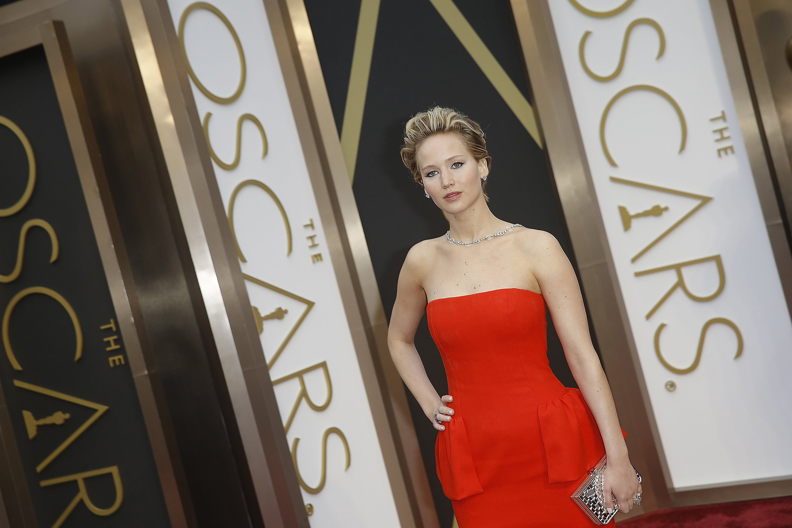 Jennifer Lawrence arrives at the 86th annual Academy Awards March 2 in Los Angeles. Credit: Courtesy of MCT