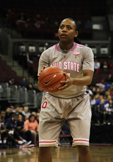 Sophomore guard Ameryst Alston sets up for a free throw during a game against Penn State Feb. 23 at the Schottenstein Center. OSU won, 71-62. Credit: Ritika Shah / Asst. photo editor