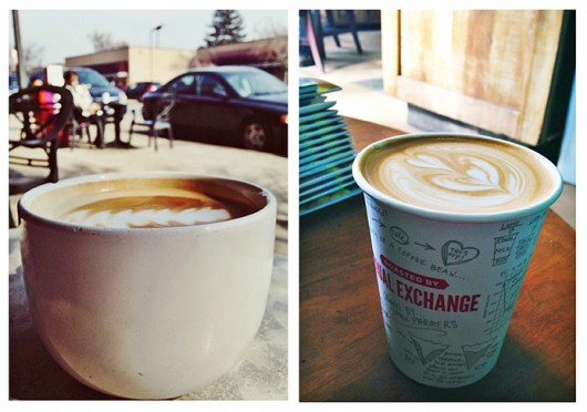 A latte from Stauf's in Columbus (left) and a latte from Equal Exchange Café in Boston.  Credit: Mark Spigos / Lantern reporter