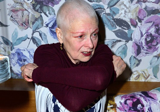 Designer Vivienne WEstwood debuts here one minte campaign video higlihgting 'the waste of water' within the meat industry at Tidbits in London March 18. Credit: Courtesy of MCT