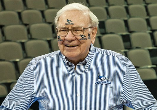 Warren Buffett visited the Creighton Bluejays prior to their game with Providence at the CenturyLinkCenter in Omaha, Neb., March 8.  Credit: Courtesy of MCT