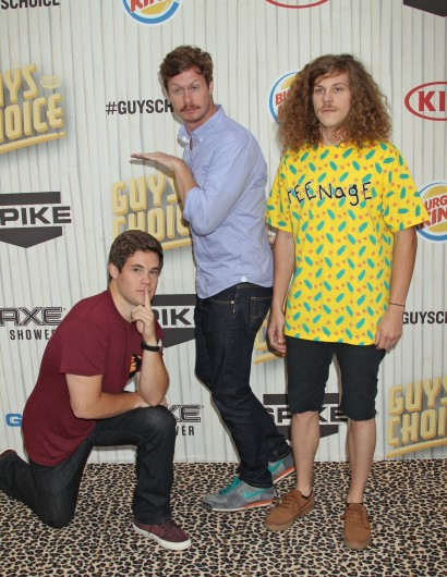 Adam Devine (left), Anders Holm and Blake Anderson of 'Workaholics' at Spike TV's Guys Choice Awards in Culver City, Calif., June 8.  Credit: Courtesy of MCT