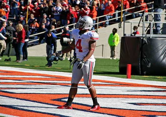 Former Ohio State running back stands in the end zone during warmups of a game against Illinois Oct. 15, 2011 in Champaign, Ill. OSU won, 17-7. Lantern file photo