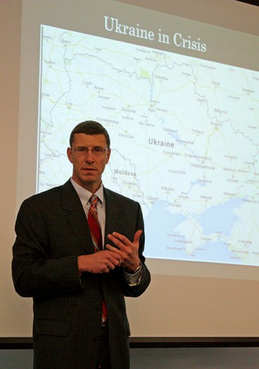 Trevor Brown, John Glenn School of Public Affairs director, spoke on the political and economic status of Ukraine at an event held in Page Hall March 27.<br />Credit: Nick Deibel / For The Lantern