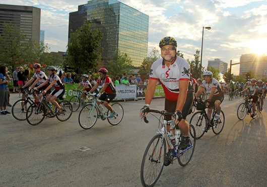Participants in last year's Pelotonia bike through Columbus. Credit: Shelby Lum / Photo editor