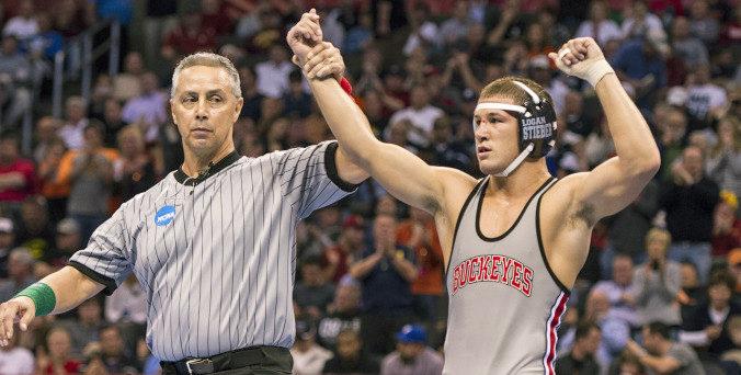 Then-redshirt-junior wrestler Logan Stieber won his third national title March 22 against Virginia Tech's Devin Carter, 10-1. Credit: Courtesy of OSU Athletics