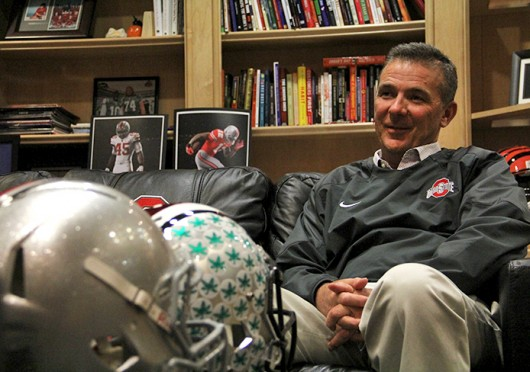 OSU coach Urban Meyer sits in his office at the Woody Hayes Athletic Center during an interview with The Lantern March 24. Credit: Ritika Shah / Asst. photo editor