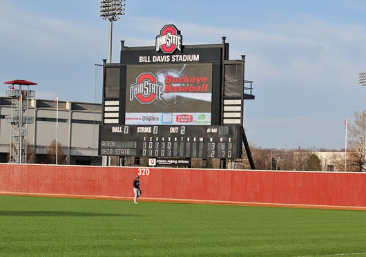 The scoreboard at Bill Davis Stadium during a game between OSU and Akron March 18. OSU won, 6-5. Credit: Sam Harrington / Lantern photographer