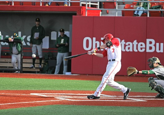 Sophomore infielder Craig Nennig (7) hits the ball during a game against Siena March 14 at Bill Davis Stadium. OSU won, 8-5. Credit: Sam Harrington / Lantern photographer