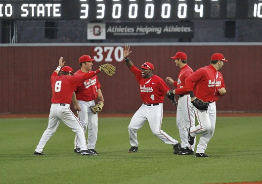 The Ohio State baseball team celebrates its victory against Xavier March 19 at Bill Davis Stadium. OSU won, 10-3. Credit: Sam Harrington / Lantern photographer