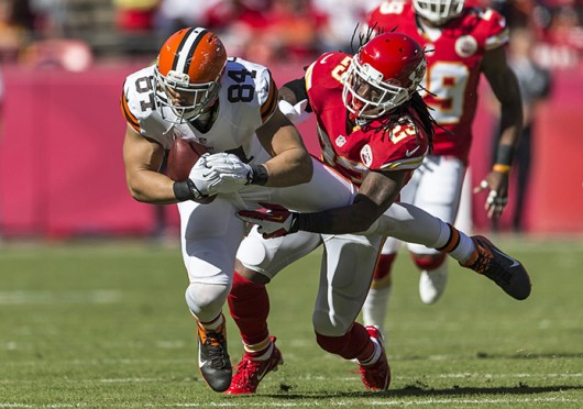 Cleveland Browns tight end Jordan Cameron is tackled during a game against the Kansas City Chiefs Oct. 27 at Arrowhead Stadium. The Browns lost, 23-17. Courtesy of MCT