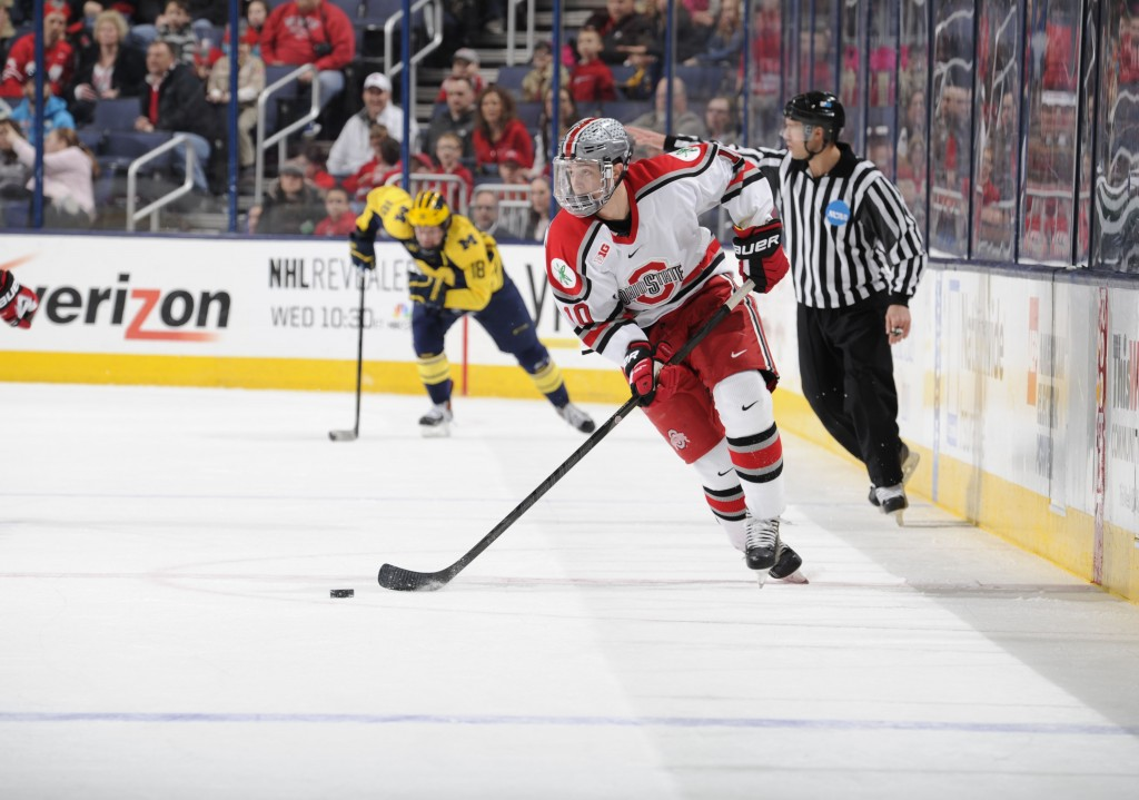 Junior forward Darik Angeli skates down the ice in a game against Michigan. OSU lost,  4-3, March 2 at Nationwide Arena. Credit: Ben Jackon / For The Lantern