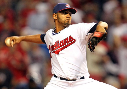 Cleveland Indians pitcher Danny Salazar throws the ball during the American League Wild Card game Oct. 2 at Progressive Field. Tampa Bay won, 4-0. Courtesy of MCT