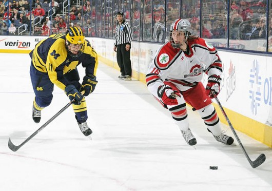 Junior forward Tanner Fritz (16) outskates an opponent during a game against Michigan March 2 at Nationwide Arena. OSU lost, 4-3. Credit: Ben Jackson / For The Lantern