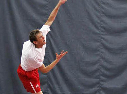 Then-redshirt-junior Kevin Metka hits the ball during a match against Michigan March 21 at the Varsity Tennis Center. OSU won, 6-1. Credit: Lantern file photo