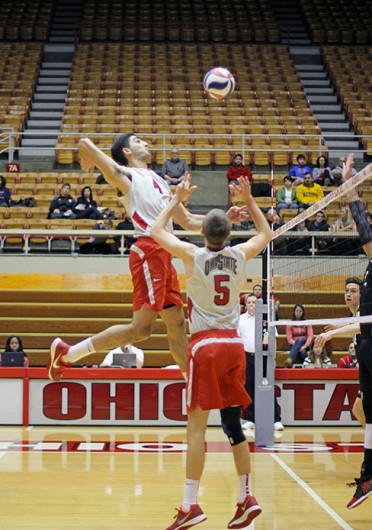 Redshirt-freshman Driss Guessous (4) prepares to hit the ball during a match against Saint Francis Feb. 9 at St. John Arena. OSU won, 3-1. Credit: Shelby Lum / Photo editor