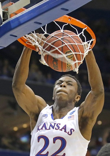 Kansas Freshman guard Andrew Wiggins dunks the ball during a game against Eastern Kentucky March 21 at the Scottrade Center. Kansas won, 80-69. Courtesy of MCT
