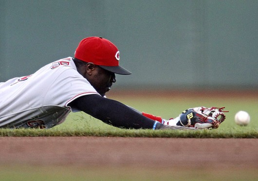 Cincinnati Reds second baseman Brandon Phillips lays out for a ground ball during a game against the San Francisco Giants July 24 at AT&T Park. The Reds won, 8-3. Courtesy of MCT