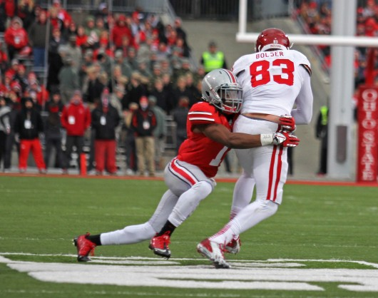 Redshirt-junior cornerback Bradley Roby (1) tackles a player during a game against Indiana Nov. 23 at Ohio Stadium. OSU won, 42-14. Credit: Shelby Lum / Photo editor