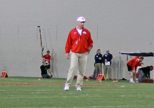 OSU coach Urban Meyer watches over his players during Spring Practice March 4 at the Woody Hayes Athletic Center. Credit: Shelby Lum / Photo editor