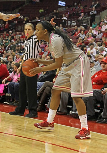 Sophomore guard Ameryst Alston (14) looks for an open teammate during a game against Penn State Feb. 9 at the Schottenstein Center. OSU lost, 74-54. Credit: Ritika Shah / Asst. sports editor