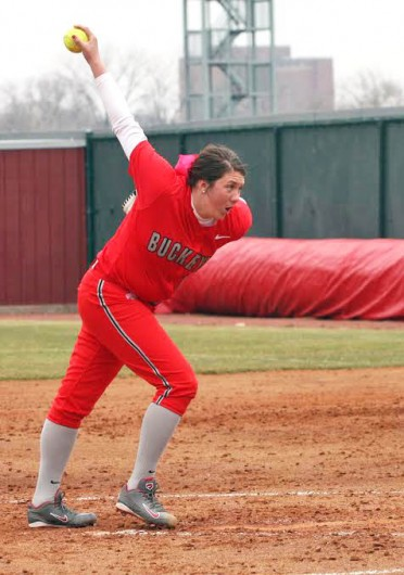 Freshman pitcher Shelby Hursh winds up a pitch during a game against Michigan State March 22 at Buckeye Field. OSU won, 11-7. Credit: Kim Dailey / Lantern photographer