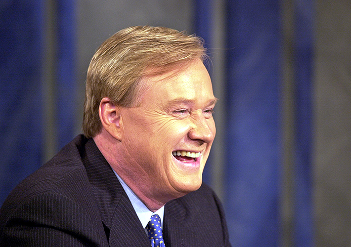 Chris Matthews of MSNBC's 'Hardball' laughs with a guest during a commercial break. He is set to speak at OSU's commencement May 4.