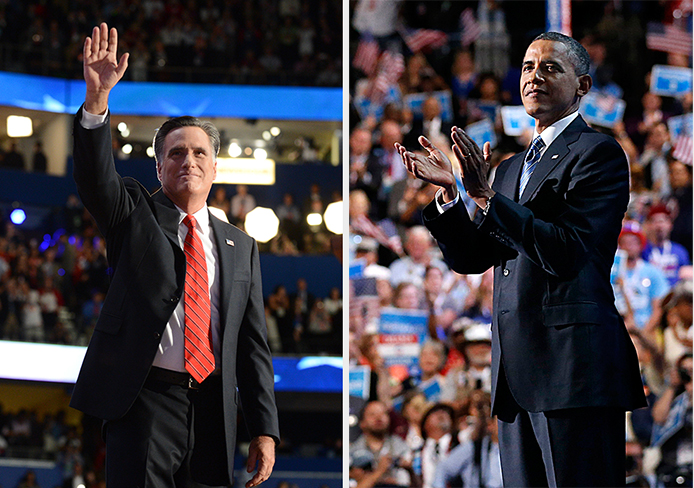 Then-republican candidate Mitt Romney (left) at the Republican National Convention in 2012. President Barack Obama at the Democratic National Convention in 2012. Credit: Courtesy of MCT