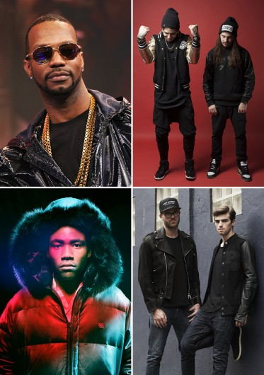 Clockwise from top left: Juicy J, Caked Up, The Chainsmokers and Childish Gambino are slated to perform at OUAB's Big Free Concert on the South Oval April 10.  Credit, clockwise from top left: Courtesy of MCT, Warpath Group, 4AM and Glassnote.