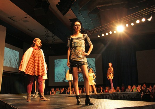 Students in the OSU Fashion Production Association presented their original designs at the 2014 'Incrementa: Seasons of the Self' fashion show at the Ohio Union April 12. Credit: Amanda Etchison / Lantern reporter