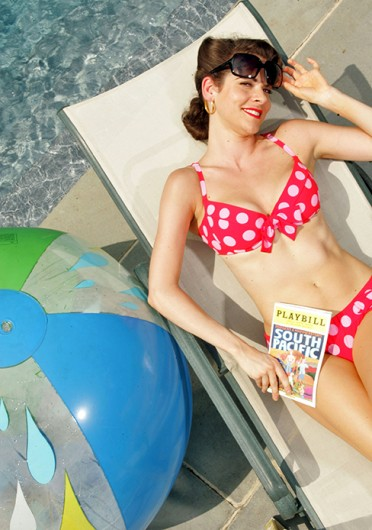 A member of the Broadway show 'South Pacific' models a retro bathing suit in the village of Sands Point in New York, May 27, 2008. Credit: Courtesy of MCT