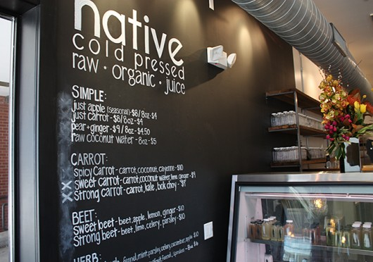 The inside of Native Cold Pressed juice bar, located at 18312u3012 N. High St.  Credit: