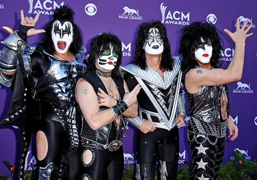 Gene Simmons, Eric Singer, Tommy Thayer and Paul Stanley of the rock band Kiss arrive at the 47th Annual Academy Of Country Music Awards held at the MGM Grand Garden Arena  in Las Vegas April 1, 2012. Kiss is set to be inducted into the Rock and Roll Hall of Fame April 9. Credit: Courtesy of MCT