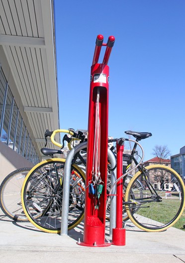 A Dero Bike Fixit Stand, located outside of the RPAC, has tools for bike repair and an air pump for inflating tires. There are two additional stands on campus: at the Adventure Recreation Center and at Jesse Owens North. Credit: Ritika Shah / Asst. photo editor