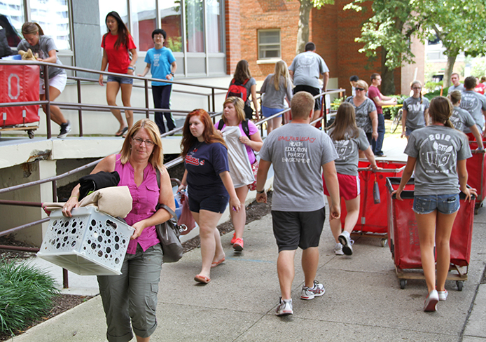 OSU students move into dorms. Before some international students move in, they attend a pre-departure orientation in China to teach future students and their families about college life. Credit: Lantern file photo