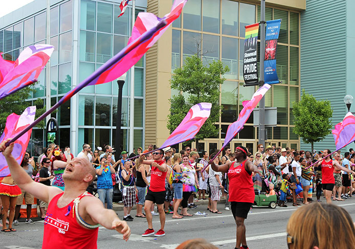 Participants march in the Stonewall Columbus Pride Festival June 22 on High Street. Credit: Shelby Lum / Photo editor