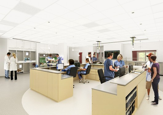 A projection of what the Veterinary Medical Center will look like after a $30M renovation set to include faculty offices, a new lobby, additional exam rooms and surgery suites. Credit: Courtesy of Melissa Weber