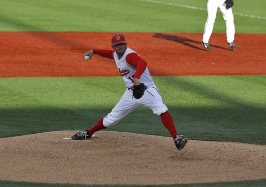 Junior pitcher Trace Dempsey prepares to deliver a pitch during a game against Ohio University April 1 at Bill Davis Stadium. OSU won, 11-6. Credit: Jason Morrow / Lantern photographer