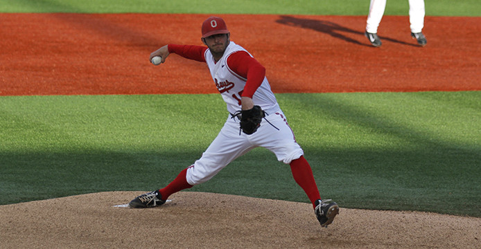 Then-junior pitcher Trace Dempsey prepares to deliver a pitch during a game against Ohio University April 1 at Bill Davis Stadium. OSU won, 11-6. Credit: Lantern file photo
